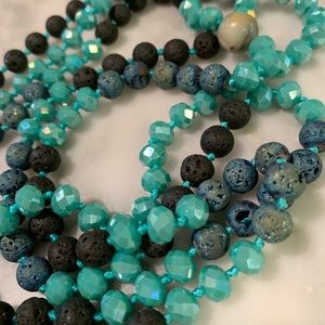 NWT! Crystal and Lava Rock Knotted Necklace